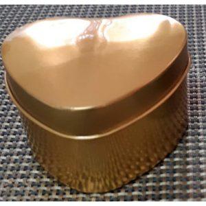 Plain Heart Gold Metal Box